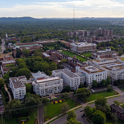 Aerial photo of Belmont's campus from the north