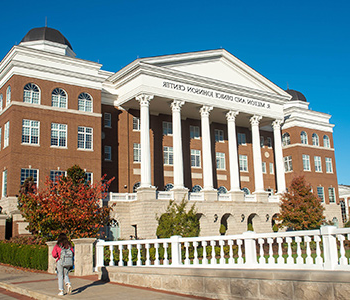 A photo of the exterior of the Johnson Center